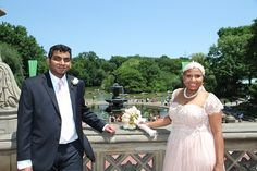 happy couple, just married in Central Park, by Bethesda Fountain