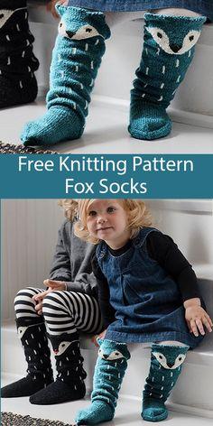 Free Knitting Pattern For Fox Socks - Cuff-Down Fox Faced ~ free knitting pattern für fox-socken - cuff-down fox faced ~ patron de tricot gratuit pour chaussettes renard - renard à revers Knitting Designs, Knitting Patterns Free, Knit Patterns, Free Knitting, Baby Knitting, Knitted Socks Free Pattern, Knitting For Kids, Knitting For Beginners, Loom Knitting