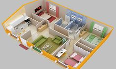 Model House Plan, 3d House Plans, House Layout Plans, Bungalow House Plans, Dream House Plans, Small House Plans, 3 Room House Plan, Three Bedroom House Plan, House Rooms
