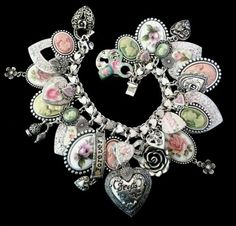 10PC Blue Heart//Rose Flower Enamel Charm Pendant Fit DIY Jewelry Finding Craft