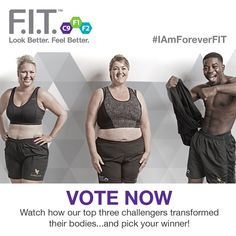 Our three finalists, Claire, Natalie and Ronald, were selected by Forever UK Head Office because we believe they demonstrated the best overall body transformation after completing the F.I.T. Challenge.   Help us to choose the final winner by visiting the new F.I.T. tab here http://apps.facebook.com/forever-fit/ and place your vote #IAmForeverFIT