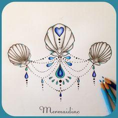 Pretty sea shell tattoo design for a mermaid #seashells #mermaid #tattoodesign…