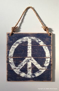 Peace Sign Distressed Wood Painting with by JoBellaWoodDesigns
