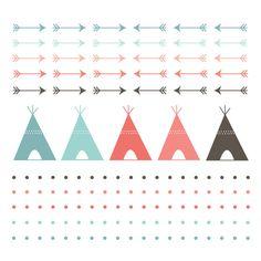 60 % de rabais vente numérique Clip Art tipi tente numérique frontières Navaho Clipart flèches, Polka Dots, Indien