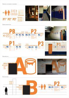 Juan Peuser - IMPA - Panel Señalética Parking Design, Signage Design, Layout Design, Environmental Graphic Design, Environmental Graphics, Wayfinding Signs, Sign System, Exterior Signage, Information Design