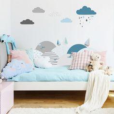 Nálepky na stenu - hviezdičky a oblaky | INSPIO Decoration, Baby Room, Toddler Bed, Organization, Organising, Furniture, Home Decor, Mountains, Amazing