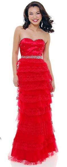 Red Formal Dress Long Layered Lace Skirt Strapless Rhinestone Waist