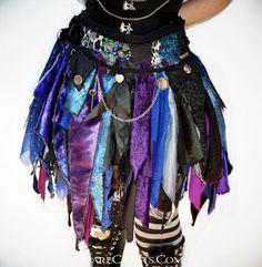 Devi Blue Tattered Skirt Pixie Skirt Fairy Skirt by DareCrafts Summer Trends Goth Skirt, Gypsy Skirt, Tulle Skirts, Boho Skirts, Rag Skirt, Skirt Belt, Skirt Fashion, Fashion Outfits, Gothic Fashion
