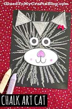 Paper & Chalk Art Cat Craft For Kids To Recreate - Glued To My Crafts - - I'm hoping to encourage some PURR-FECT creativity in your home today, with our latest Paper & Chalk Art Cat kid craft tutorial! Preschool Crafts, Crafts For Kids, Arts And Crafts, Summer Crafts, Craft Kids, Projects For Kids, Art Projects, Splat Le Chat, St Patrick's Day
