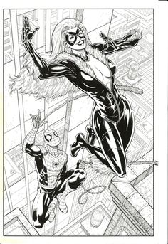 Black Cat and Spidey by Ian Churchill, in Conny Valentinas 1 The Kitty Litter Comic Art Gallery Room - 1013741 Spiderman Black Cat, Spiderman Girl, Black Cat Marvel, Black Cat Comics, Black Cat Art, Black White Art, Comic Books Art, Comic Art, Book Art
