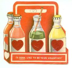 'I'd soda like to be your valentine' vintage valentine card