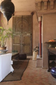 modern global style -- love the door Moroccan Art, Moroccan Interiors, Moroccan Design, Moroccan Style, Moroccan Bedroom, Moroccan Lanterns, Marocco Interior, Style Marocain, Riad Marrakech
