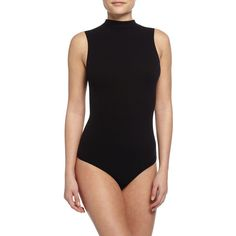 Commando Seamless Mock-Neck Thong Bodysuit (250 PEN) ❤ liked on Polyvore featuring intimates, shapewear and black