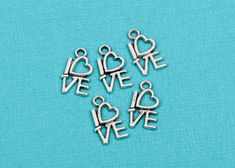 15 LOVE Charms, Word Affirmation Charm, Silver Tone Pewter Charm Pendant  chs1647 by SmartParts on Etsy
