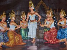 Cambodian art Cambodian Women, Cambodian Art, Mystery Dinner, Autumn Scenes, Traditional Paintings, Woman Drawing, Fantasy Inspiration, Angkor, Art Studies