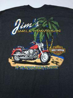 Harley Davidson L 2005 Jim's St Petersburg Florida Short Sleeve Gray Men's #HarleyDavidson #GraphicTee