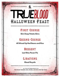 True Blood Halloween Menu Cards. Free download here:  http://budurl.com/TruebieMenu #TBHalloween