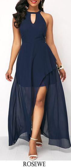 Chiffon Overlay Keyhole Neckline Navy Blue Maxi Dress.#Rosewe#maxidress#chiffon