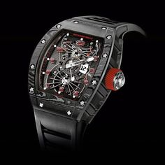 Richard Mille updates the RM 022 Tourbillon Aerodyne Dual Time with aerospace carbon material. Richard Mille, Fine Watches, Cool Watches, Watches For Men, Men's Watches, Unusual Watches, Dream Watches, Stylish Watches, Luxury Watches