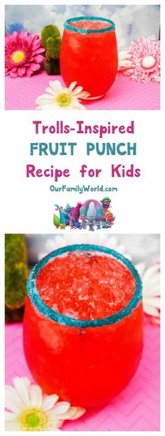 Throwing a Trolls movie party? Whip up this tasty fruit punch non-alcoholic drink for kids, with printable recipe card!