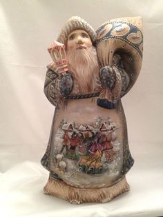 "12"" Russian Santa Winter Celebration Hand Carved Hand Painted Signed"
