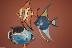 "(3),6""TROPICAL FISH,NAUTICAL DECOR,ISLAND DECOR,CORAL,BATH DECOR, POOL,TIKI BAR, #CIT"