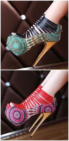 2016 Amazing Flower Print Peep Toe Cut-Outs High Heel Shoes #heels #women shoes #fashion