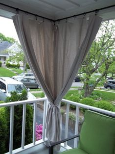 Canvas drop cloth curtains for screen porch block out afternoon sun