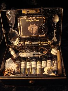 Cabinet of magic potions for all sorts of things. Box has a tube of blood from a bat wow.....