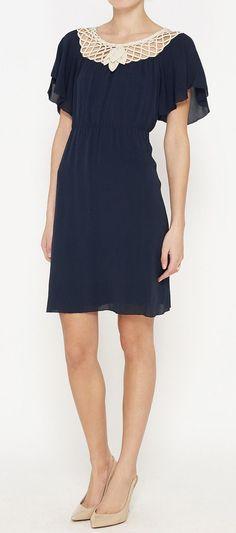 3.1 Phillip Lim Navy Georgette Dress   VAUNTE