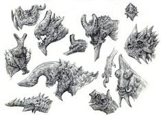 Kaiju Heads by eoghankerrigan.deviantart.com on @deviantART