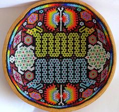 """text-mode: """" Huichol bead art (Mexico). Beadwork is the art of attaching beads to one another. """""""
