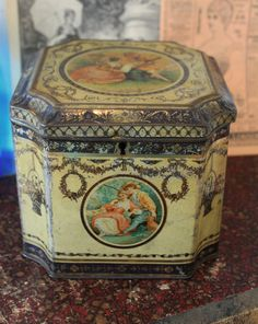 Antique English candy tin box for Rileys by LaChineuseFrancaise