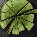 Matcha coconut custard tart with chocolate crust via AmyChaplin.com
