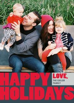 We love the bold bright red font featured on the 'Happiness Always'  Holiday Photo Cards