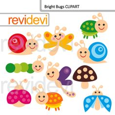 Cute bugs clipart in bright colors. Ladybug, snail, and worm. DIgital images for scrapbooking, party printable creations, paper crafts, and for more fun projects.
