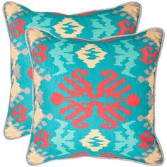 Set of two pillows with ikat motifs.   Product: Set of 2 pillowsConstruction Material: PolyesterColor...