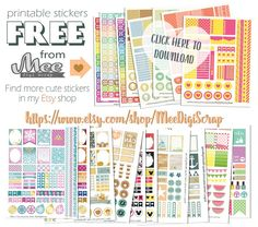 FREE Mee scrapbook kits free download: Free planner stickers
