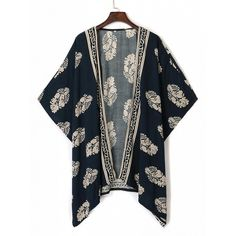 Choies Navy Leaf Print Open Front Batwing Sleeve Kimono ($14) ❤ liked on Polyvore featuring tops, multi, bat sleeve tops, navy blue top, batwing sleeve tops, kimono tops and blue top