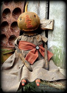 Primitive Folk Art Black Pumpkin Doll *Emestine* Fall, Autumn, Halloween, Harvest, OOAK, Handcrafted, Naive, Whimsical, Faap, Hafair Team by MeadowForkPrims on Etsy