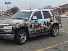 Bible story on a SUV
