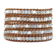 Mint Alabaster Mix Wrap Bracelet on Natural Brown Leather