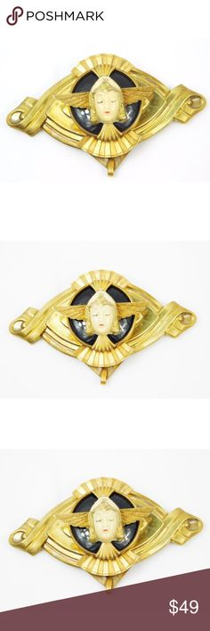 """Art Deco Style Vintage Angel Face Gold Brooch Pin Art Deco Style Vintage Angel Face Gold Brooch Pin  We can't say enough about this amazing brooch! Very unique and detailed. An angelic face placed with wings on the brooch in an Art Deco style  Decade unknown, could possibly be original Art Deco Well made, substantial piece Brass metal Black stone background Traditional pin in back Length 3.5"""" W x 2"""" H  Condition: No major flaws. Light tarnishing and slight scratching from normal wear…"""