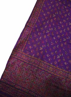 Vintage Indian Traditional Clothing Curtain Drape Saree Printed Fabric Wrap around Decorative Craft Purple Fabric PSS1637