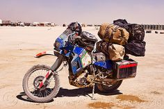 my KLR 650 motorbike loaded with luggage - Click photo to visit site and view larger image Motorcycle Travel, Motorcycle Adventure, Motorcycle Touring, Klr 650, Kawasaki Bikes, Black Rock Desert, Luggage Rack, Dual Sport, Bike Trails