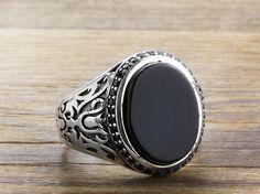 925 K Sterling Silver Man Ring  Black Onyx Gemstone 11,50 US Size B15-63709- #istanbuljewelry #Cluster