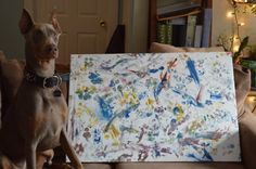 Doberman Nose Art!! A suprise Christmas present from the dog to his Momma (Daddy helped!) Would love to do this with my own dog someday!   The secret is to cover the workspace entirely with a plastic drop cloth, and keep your canine artist on a leash so he doesn't accidentally use your carpet as a canvas! Washable acrylic paints were used for this painting, and washed right off of the dog. It is highly recommended to follow up this art session with a bath session...immediately!