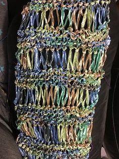 Ribbon Yarn Drop Stitch Scarf (with downloadable PDF pattern).