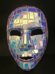 Shattered Iridescent Mirror Mask Full Face by maskupmasks on Etsy