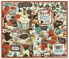 |monkeYnspiration|#21 #design #Ireland #Irish #illustrator #monkeynspiration #illustration #inspiration #pics #draw   Steve Simpson Illustration, é um ilustrador irlandês talentosíssimo que já trabalhou para diversas marcas, da criação do visual de um Festival em Dublin até embalagens de chocolate e divertidos cardápios de restaurantes.  Leia mais: http://goo.gl/abUWje  O MonkeYnspiration vai ao ar todas Segundas e Sextas, e acompanhe pelo monkeyroad.com.br/monkeynspiration
